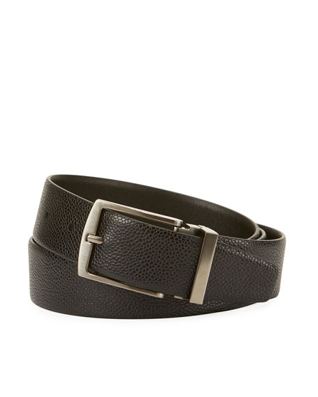 Grained Calf Leather Belt, Black