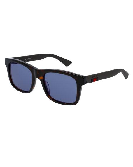 Gucci Tortoiseshell Acetate Rectangular Sunglasses w/Web Detail,