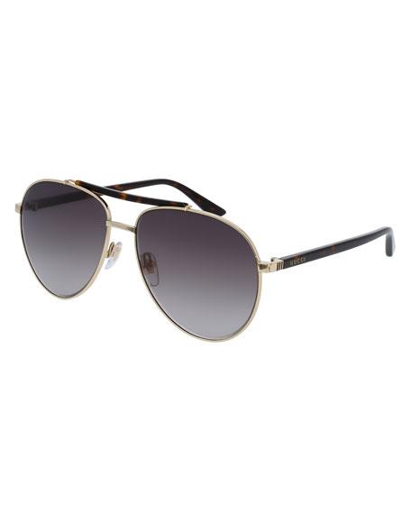 Gucci Metal Aviator Sunglasses, Golden/Brown