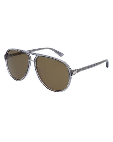Gucci Translucent Acetate Aviator Sunglasses, Gray