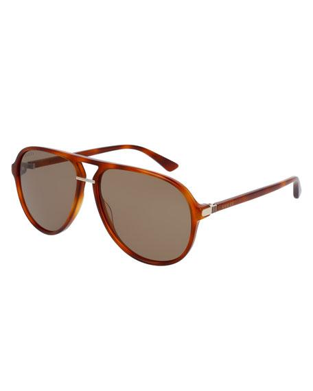 Gucci Translucent Acetate Aviator Sunglasses, Havana