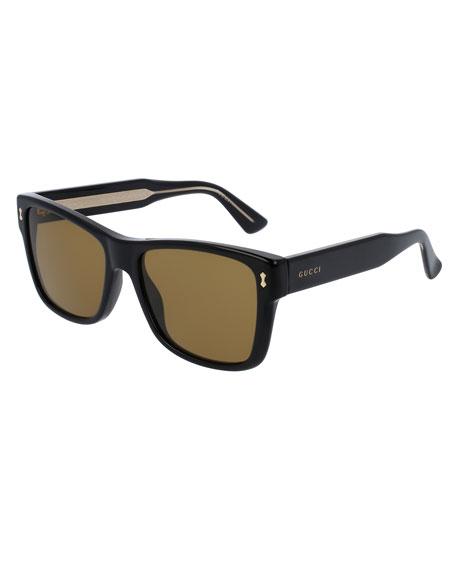 Gucci Men's Runway Acetate Rectangular Sunglasses, Black