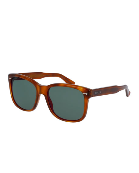 Gucci Men's Runway Havana Acetate Square Sunglasses, Brown