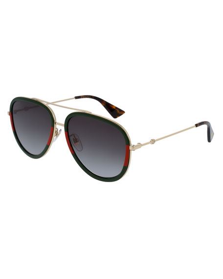 Web Aviator Sunglasses, Green/Red/Green