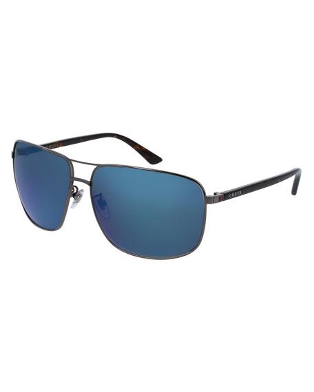 Mirrored Rectangular Metal Aviator Sunglasses, Gray