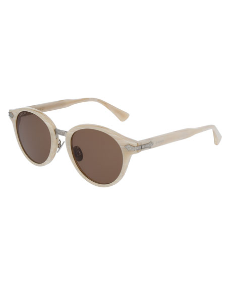 Gucci Round Acetate Sunglasses w/Engraved Details, Pearlescent