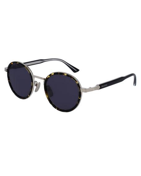 Round Engraved Titanium & Acetate Sunglasses, Tortoiseshell/Silvertone