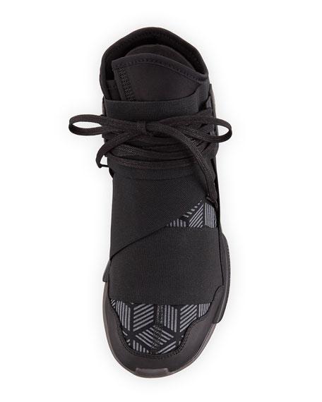 Qasa Men's Reflective Print High-Top Trainer Sneaker, Black