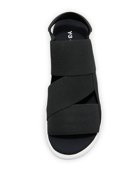 Qasa Tubular Multi-Strap Sandal, Black/White