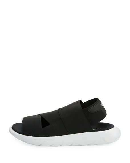 Qasa Tubular Multi-Strap Sandal, Black/White
