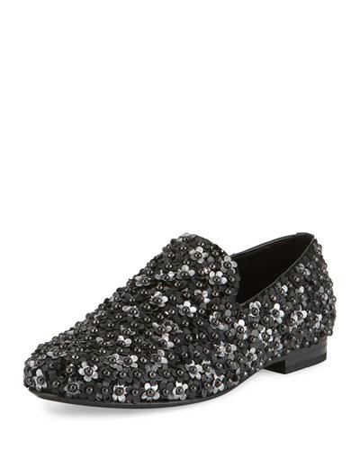 Sloane Men's Floral-Stud Slipper, Black