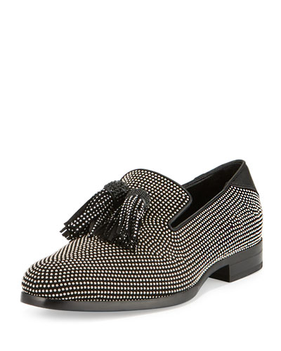 Foxley Micro-Stud Leather Tassel Loafer, Black