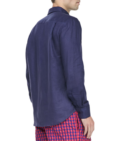 Linen Long-Sleeve Shirt, Navy