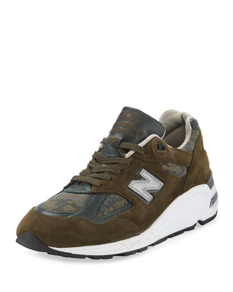 New Balance Men's 990 Distinct Leather-Suede Sneaker, Green-Olive