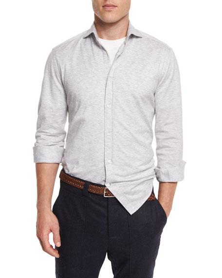 Brunello Cucinelli Knit Long-Sleeve Sport Shirt