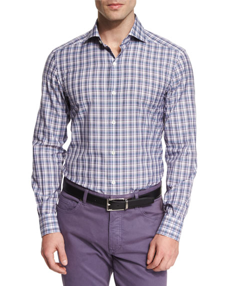 Plaid Long-Sleeve Sport Shirt, Purple