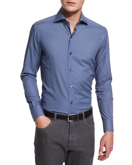 Check Long-Sleeve Sport Shirt, Navy/Steel/White