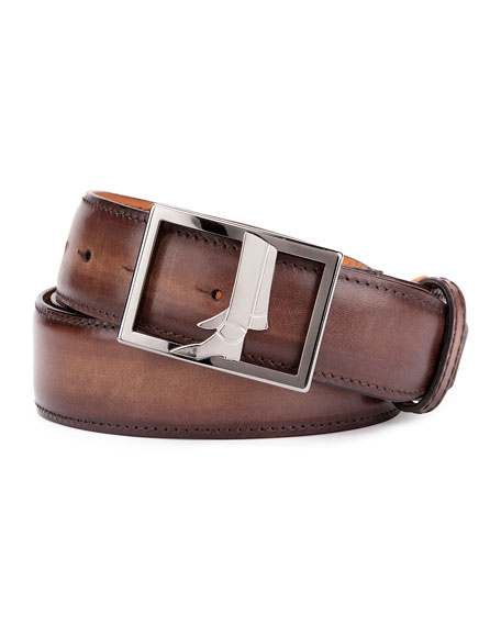 Berluti Venezia Leather Boot-Buckle Belt, Brown