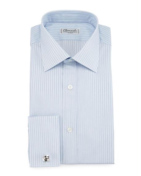 Striped Barrel-Cuff Dress Shirt, Light Blue