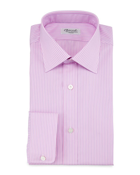 Charvet Striped Barrel-Cuff Dress Shirt, Pink/Blue