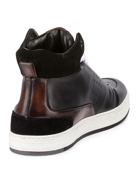 Playtime Leather High-Top Sneaker, Black