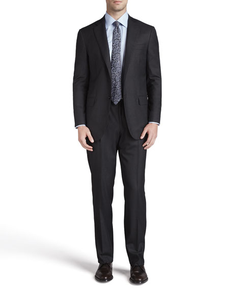 Isaia Solid Wool Suit, Black