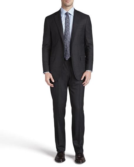 Solid Wool Suit, Dark Gray