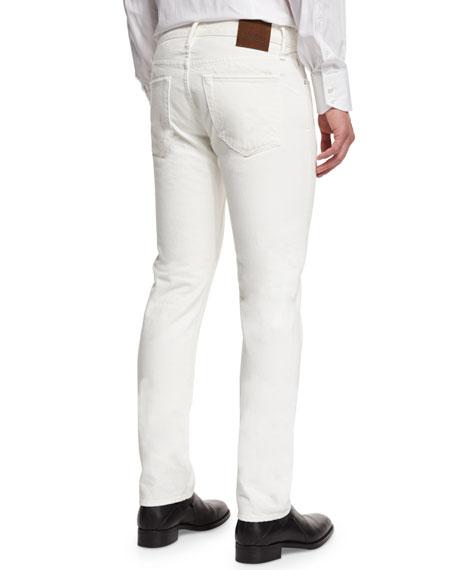 Straight-Fit Denim Jeans, White