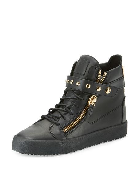 Giuseppe Zanotti Men's Matte Leather High-Top Sneaker, Black
