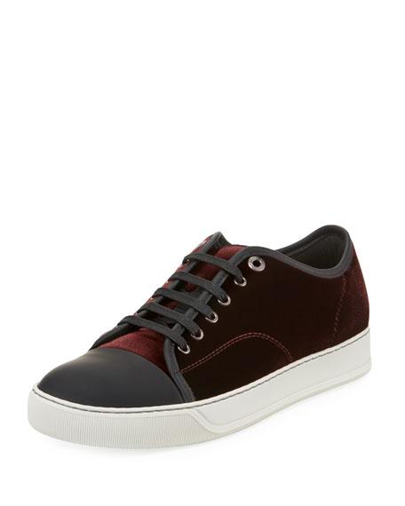 LANVIN Men'S Velvet Cap-Toe Low-Top Sneakers, Burgundy