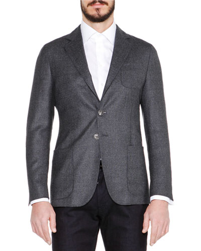 Basketweave Wool/Cashmere Jacket, Gray