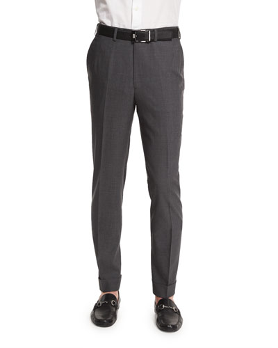 Micro-Tic Flat-Front Trousers  Charcoal
