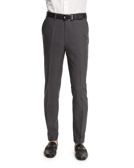 Brioni Micro-Tic Flat-Front Trousers, Charcoal