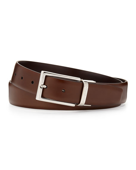 Ermenegildo Zegna Matte Reversible Belt, Brown/Cognac
