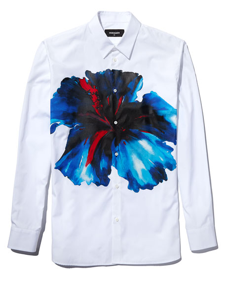 Oversized Flower-Print Long-Sleeve Sport Shirt, White