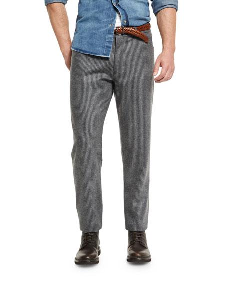Chalk-Stripe Flannel Pants, Lead