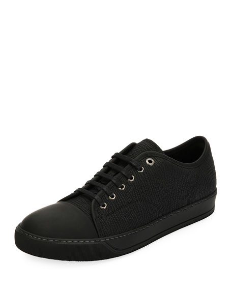 Lanvin Textured Leather Low-Top Sneaker, Black