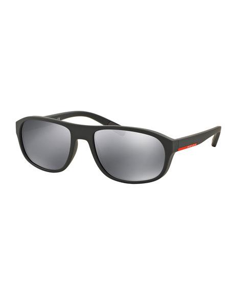 Rectangular Sunglasses with Mirror Frames, Green