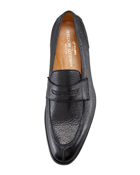 Split-Toe Peccary Penny Loafer, Black
