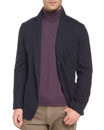 Lightweight Cashmere Sweater Jacket, Dark Blue