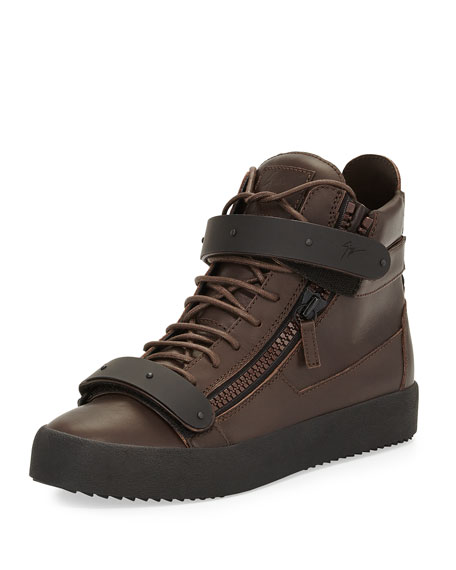 Men's Double-Strap High-Top Sneaker, Brown/Black