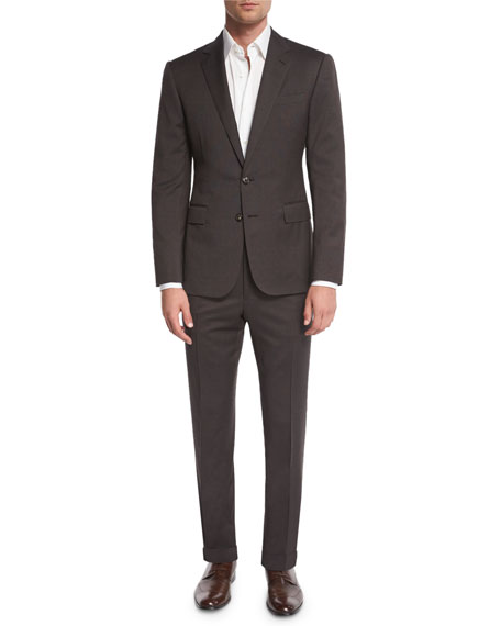 Anthony Houndstooth Two-Piece Suit, Olive