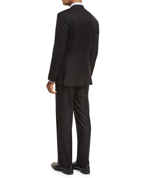 Essential Virgin Wool Two-Piece Suit, Black