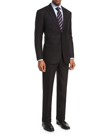 Brioni Essential Virgin Wool Two-Piece Suit, Black