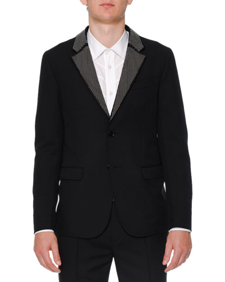 Studded-Lapel Two-Button Jacket, Black