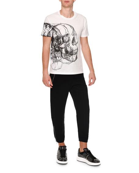 Skull-Drawing Crewneck T-Shirt