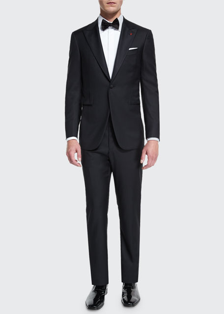 Isaia Satin Peak-Lapel One-Button Wool Tuxedo, Black