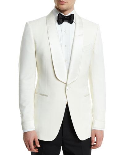 O'Connor Base Satin-Lapel Wool Jacket  Ivory