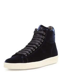 Russel Velvet High-Top Sneaker, Navy