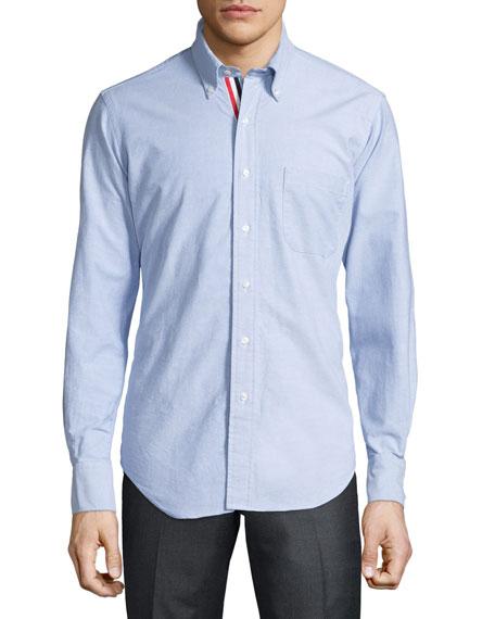 Long-Sleeve Cotton Oxford Shirt, Blue